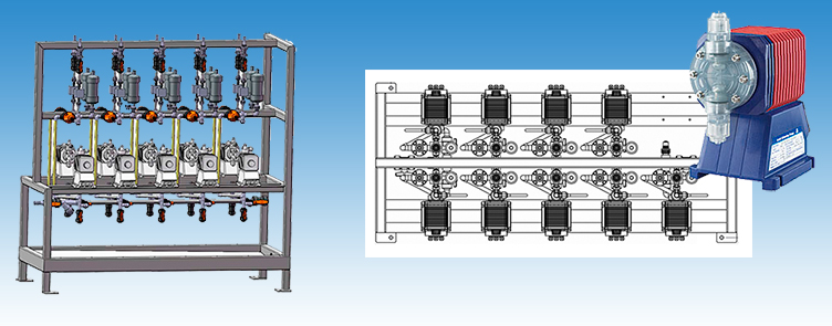 Dosing cabinets with two rows